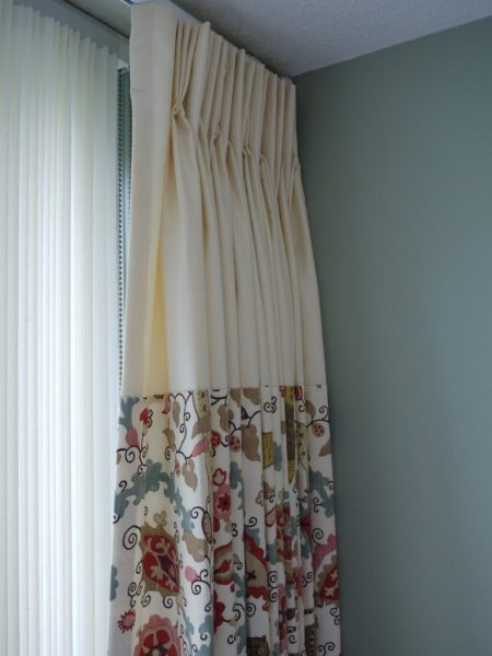 banded drapes with 3 fabrics