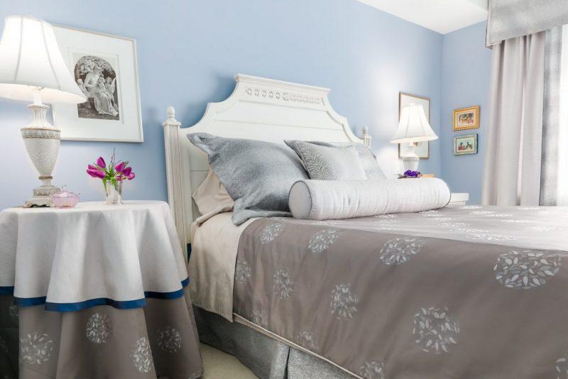 Master Bedroom custom bedding and drapes