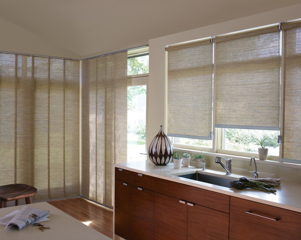 Seven stylish treatments for your kitchen sink window for Stylish window shades