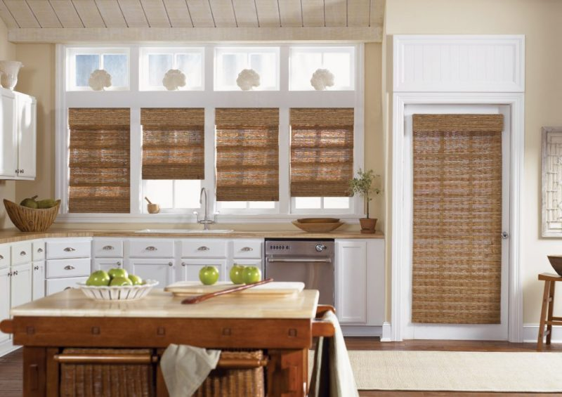 graber-woven wood roman shades