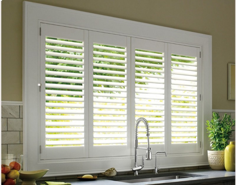 shutters on kitchen sink window