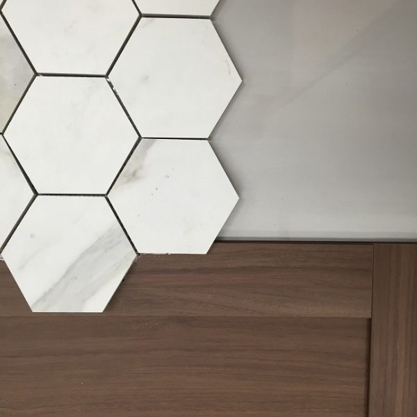 Floor tile – Candia di Cava hex tile with the shower wall tile and Godmorgen IKEA cabinet door.