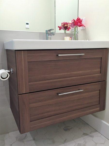 Interior decorating blog by award winning urban aesthetics - Ikea floating bathroom vanity using kitchen cabinets ...
