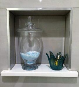 quartz shelf in shower niche