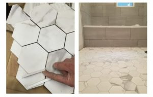 Hexagon tile with grout colour options