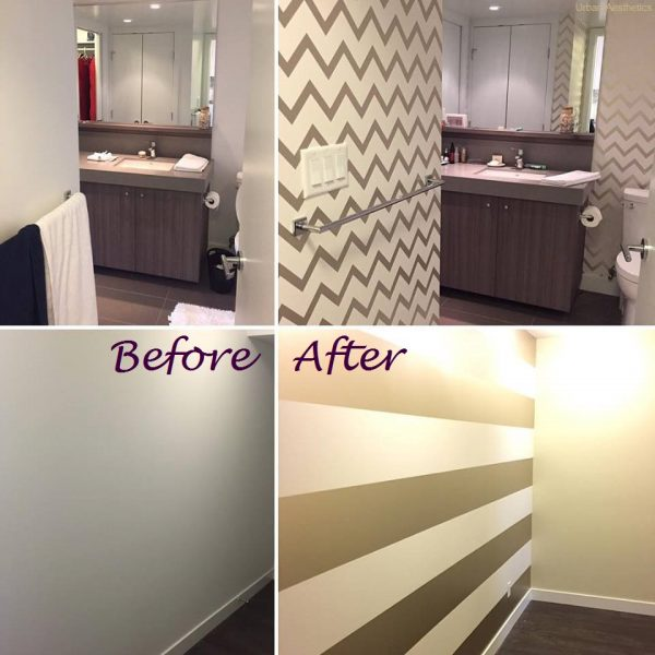 horizontal stripe wallpaper before and after