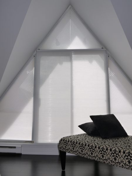 Duette by Hunter Douglas angled top and triangle shades