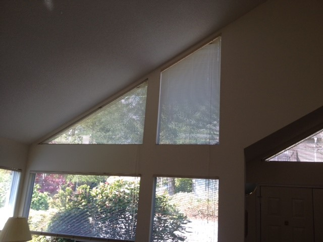Angled top shaped windows need new window covering