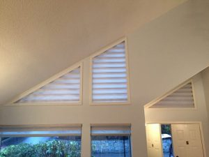 sheer horizontal shades on angled windows