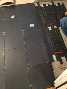 Bathroom renovation progress, shower floor porcelain linear tile