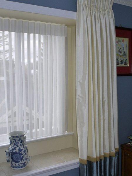 Luminette sheer shades, custom drapery panels master bedroom refresh