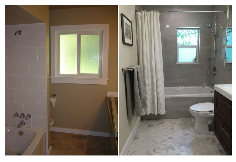 Before and after bathroom photo. Design by Urban Aesthetics