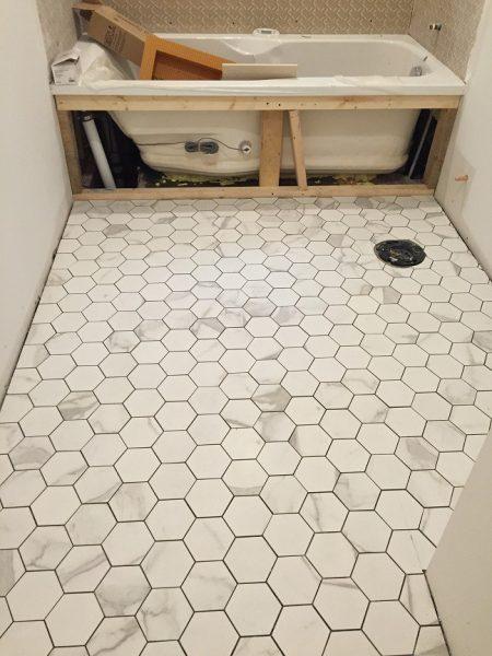 Floor tiles not grouted