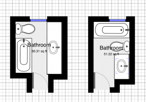 bathroom layout before and after.
