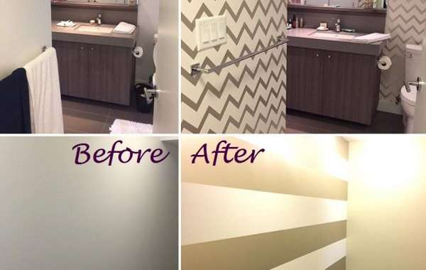 Use wallpaper to add style to your home; Before and After