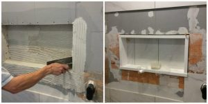 Bathroom renovation budget saving tip - build your own shower niche and edge with quartz