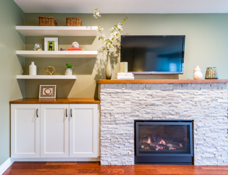 Fireplace-makeover-with-custom-cabinetry