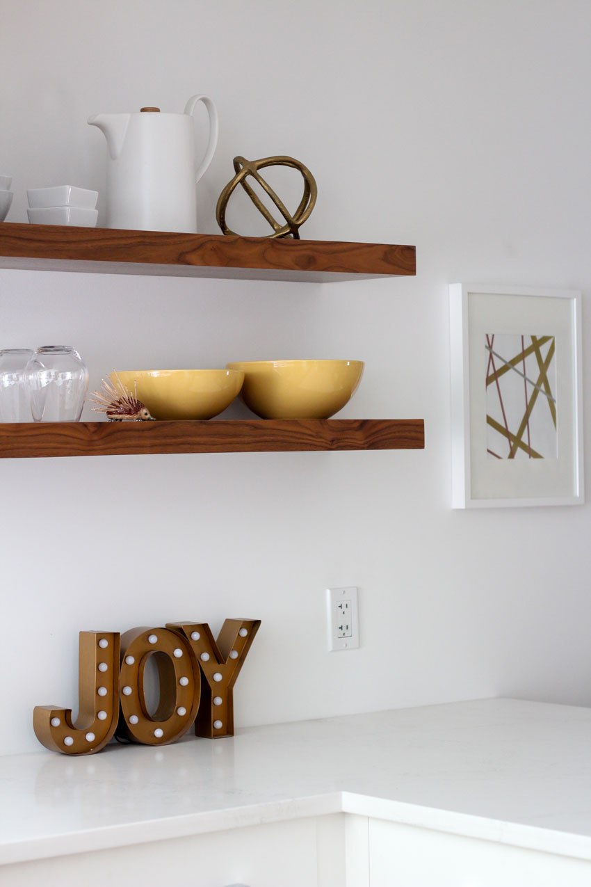 floating walnut shelf-nancy-devries-Joy-sign