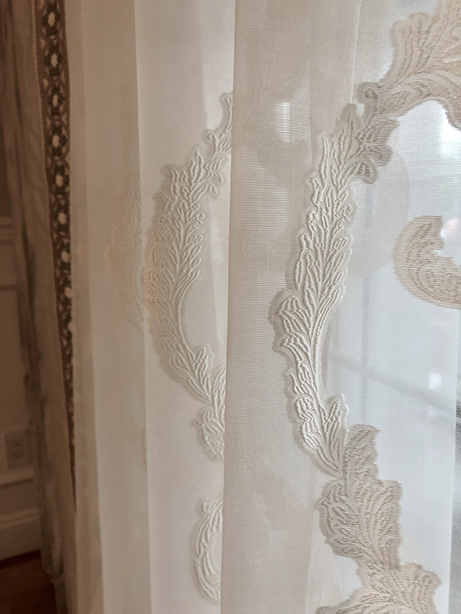 close up of Ardecora embroidered sheer fabric_UA